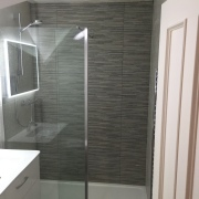 After image - Bathroom renovation, wall hung basin unit, led mirror, wall hung toilet with chrome flush plate