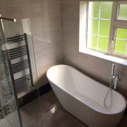 Family bathroom referb, featuring free standing bath and wetroom