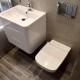 Sandyford - bathroom referb Wall hung toilet wall hung basin wood effect tiles