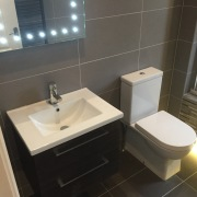 Wall hung basin unit, led mirror btw pan cistern - Modern bathroom Cleary Bathroom Design