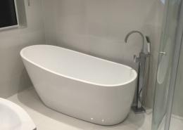 Main Bathroom renovation featuring a freestanding bath, led mirror, chrome freestanding mixer bath taps, quadrant shower.