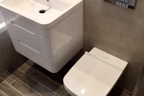 Sandyford - bathroom referb Wall hung toilet wall hung basin wood effect tiles