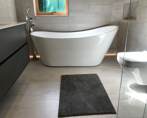Bathroom in wicklow, featuring freestanding bath and modern clean design. All works completed by Cleary Bathroom Design
